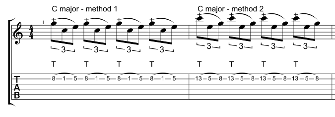 Two different ways to tap a one string C major arpeggio.