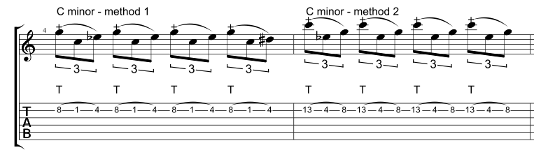 Two different ways to tap a one string C minor arpeggio.