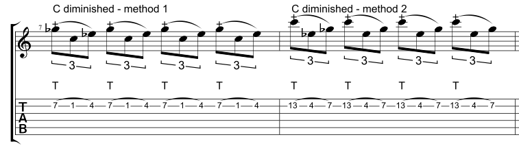 Two different ways to tap a one string C diminished arpeggio.