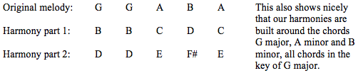 table 3 notes in 3 part guitar harmony in g major