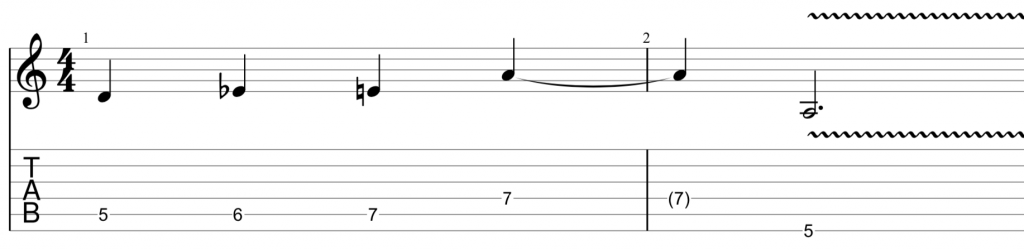 Blues scale lick in A minor