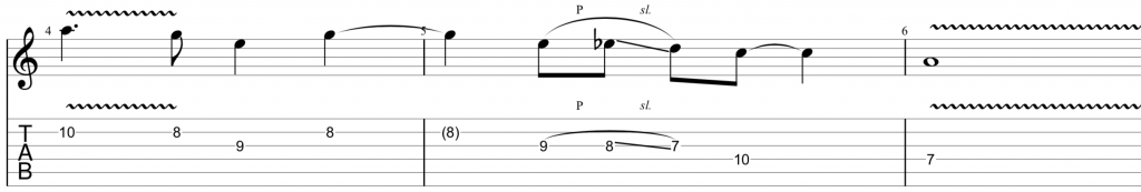 blues scale example in A minor